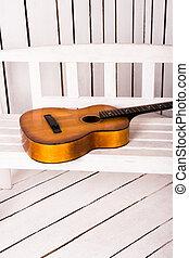bois, guitare, résumé, fond, acoustique