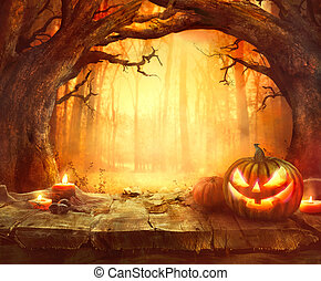 bois, halloween, fond