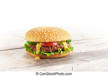 bois, hamburger, frais, fait maison, table