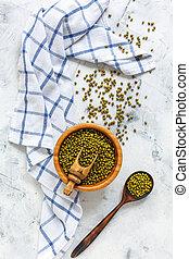bois, haricots, mung, organique, bowl.