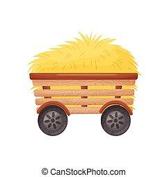 bois, hay., illustration, vecteur, charrette, quatre roues motrices