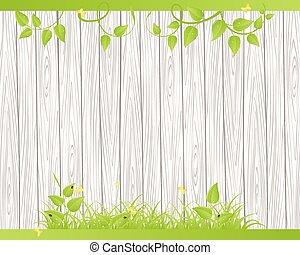 bois, herbe, barrière