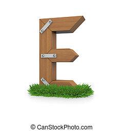 bois, herbe, e, lettre