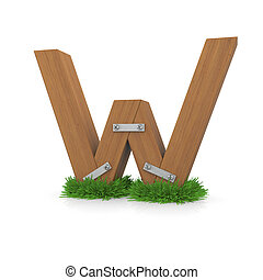 bois, herbe, w, lettre