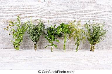 bois, herbes, blanc, paquet, italien