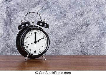 bois, heure, mur, vendange, horloge, 2, fond, table