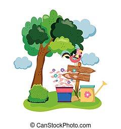 bois, houseplant, jardin, flèche, coq