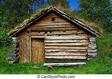 bois, hutte, ancien