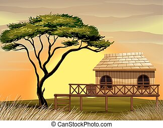 bois, hutte, scène, champ
