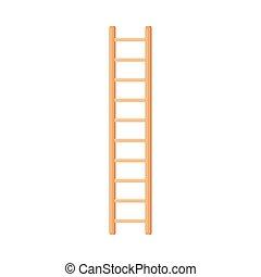 bois, illustration, directement, étape, debout, lumière, échelle, vecteur