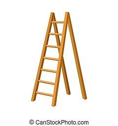 bois, illustration, isolé, étape, solide, échelle, vecteur