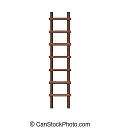 bois, illustration, sombre, directement, étape, rugueux, échelle, vecteur