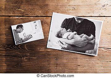 bois, images, pères, père, day., arrière-plan., bébé