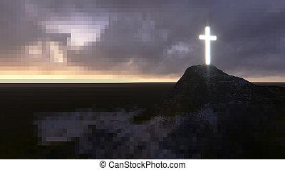 bois, incandescent, croix