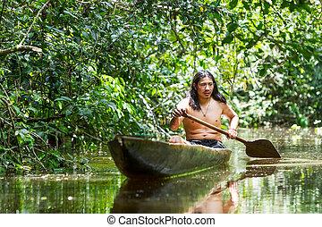 bois, indigène, adulte, homme, canoë