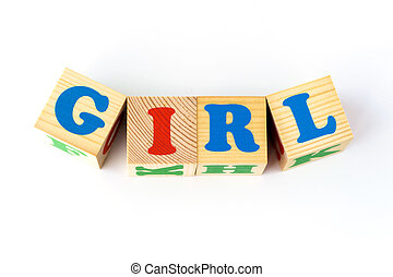 bois, inscription, girl, cubes