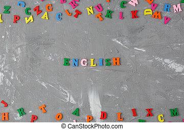bois, inscription, lettres, coloré, anglaise