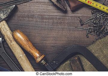 bois, instruments, construction, fond