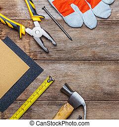 bois, instruments, construction, table