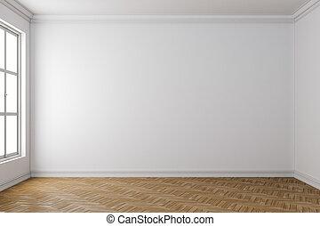 bois, intérieur, blanc, 3d, plancher