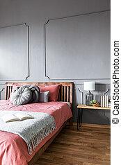 bois, intérieur, confortable, chambre à coucher