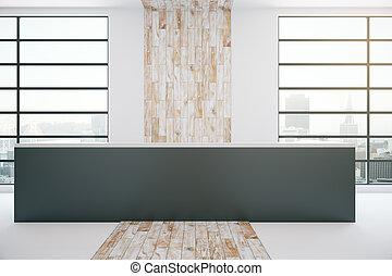 bois, intérieur, noir, bureau réception