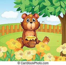 bois, intérieur, ours, barrière