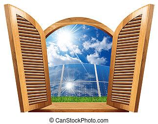 bois, intérieur, panneaux, fenêtre, solaire
