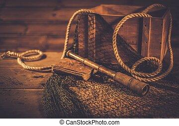 bois, intérieur, voyager, concept, mer