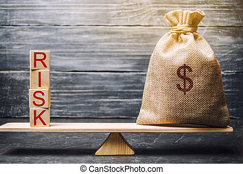 bois, investir, risks., financier, risques, business, mot, droit, blocs, marché, propriété, confection, project., decision., légal, justifié, risk., argent, concept, sac, insurance.