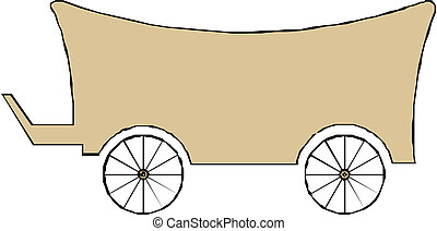 bois, isolé, chariot