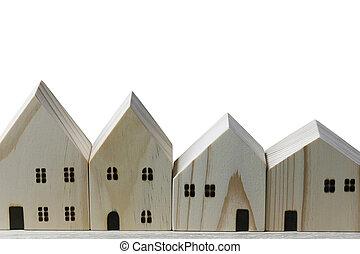 bois, isolé, devant, maison, white., modèle
