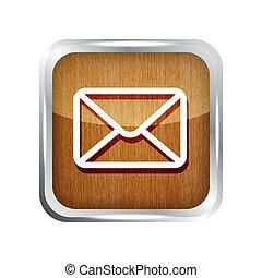 bois, isolé, fond, courrier, blanc, icône