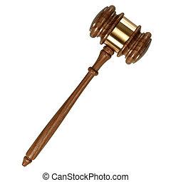 bois, isolé, juge, fond, marteau, blanc