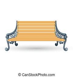 bois, isolé, repos, banc, arrière-plan., endroit, blanc