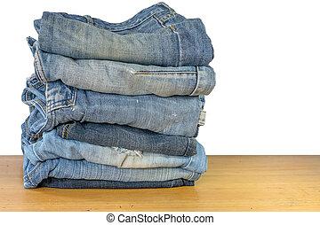 bois, jean, empilé, fond, table