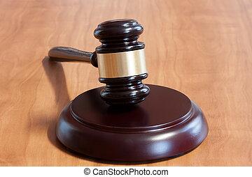 bois, judiciaire, marteau, table