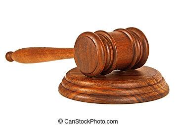 bois, juge, marteau, et, caisse de résonnance, isolé, sur, a, fond blanc