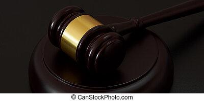 bois, juge, marteau, sur, a, table