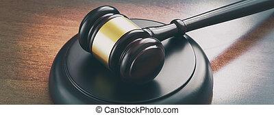 bois, juge, marteau, table