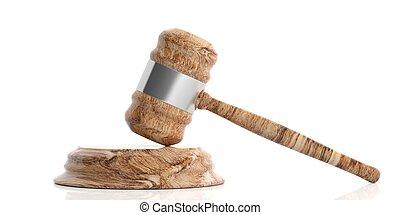 bois, juge, ou, enchère, marteau, blanc, arrière-plan., 3d, illustration