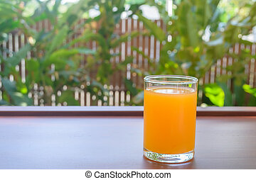 bois, jus, orange, table, verre