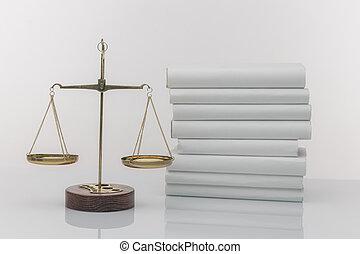 bois, justice, isolé, balances, ouvert, marteau, livre, blanc
