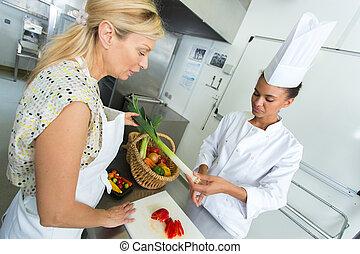 bois, légumes, chef cuistot, découpage, tranchoir