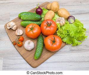 bois, légumes, découpage, closeup, planche, table