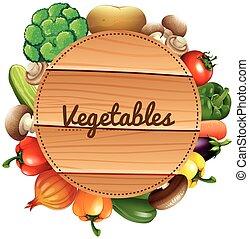 bois, légumes frais, signe