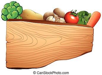 bois, légumes mélangés, signe