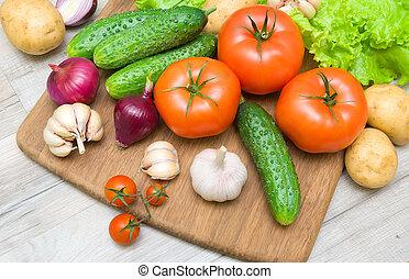bois, légumes, planche découper, frais, table