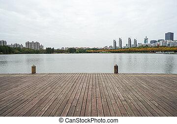bois, lakeside, walkway