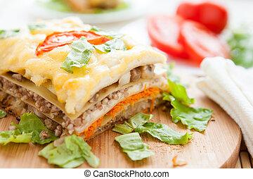 bois, lasagne végétal, planche